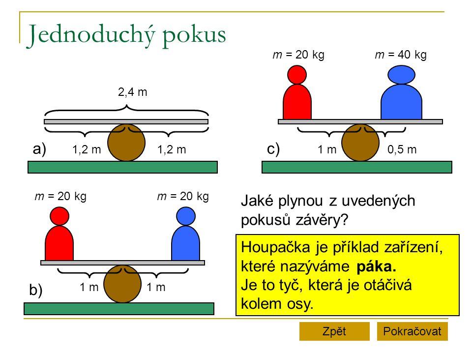Jednoduchý pokus PokračovatZpět a) 2,4 m 1,2 m b) 1 m m = 20 kg c) 1 m0,5 m m = 20 kgm = 40 kg Jaké plynou z uvedených pokusů závěry? Houpačka je přík