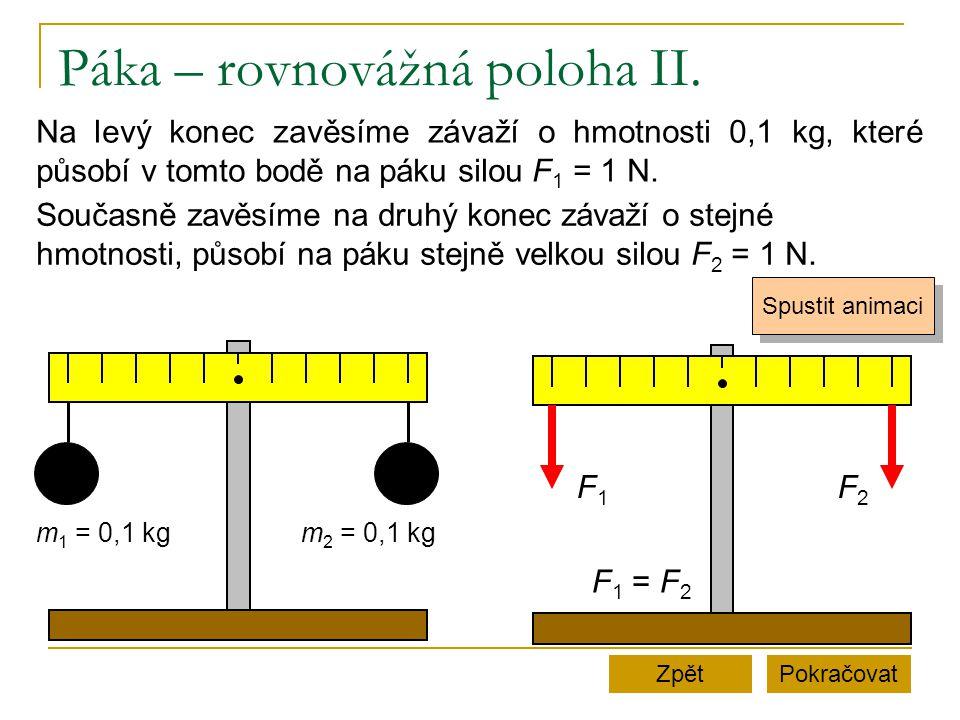 Páka – rovnovážná poloha II. PokračovatZpět Na levý konec zavěsíme závaží o hmotnosti 0,1 kg, které působí v tomto bodě na páku silou F 1 = 1 N. Spust