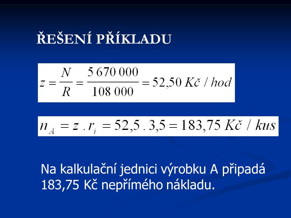 Na kalkulační jednici výrobku A připadá 183,75 Kč nepřímého nákladu. ŘEŠENÍ PŘÍKLADU