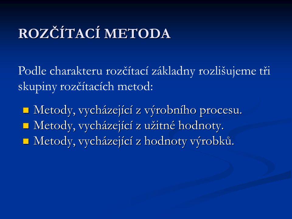 ROZČÍTACÍ METODA  Metody, vycházející z výrobního procesu.  Metody, vycházející z užitné hodnoty.  Metody, vycházející z hodnoty výrobků. Podle cha