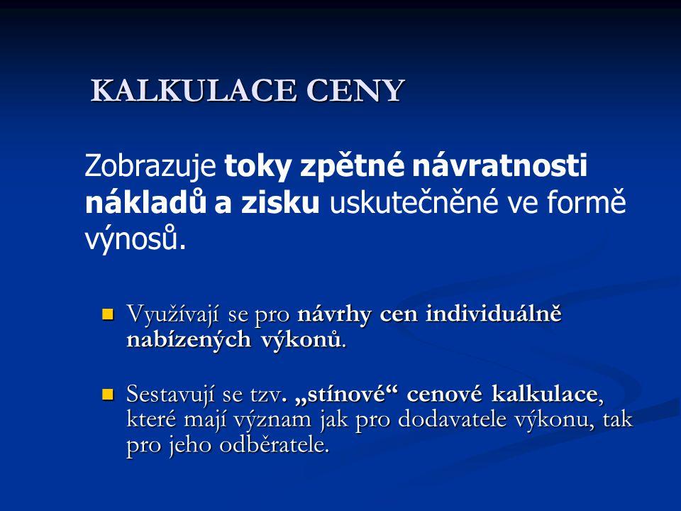 """KALKULACE CENY  Využívají se pro návrhy cen individuálně nabízených výkonů.  Sestavují se tzv. """"stínové"""" cenové kalkulace, které mají význam jak pro"""