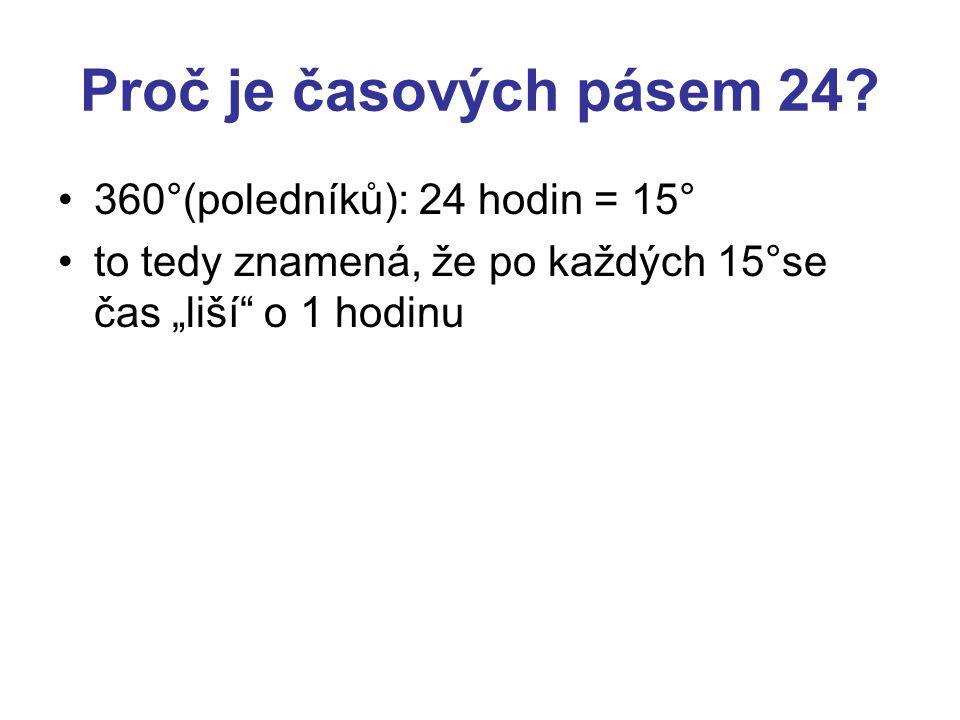 """Proč je časových pásem 24? •360°(poledníků): 24 hodin = 15° •to tedy znamená, že po každých 15°se čas """"liší"""" o 1 hodinu"""