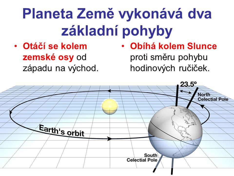 Planeta Země vykonává dva základní pohyby •Otáčí se kolem zemské osy od západu na východ. •Obíhá kolem Slunce proti směru pohybu hodinových ručiček.