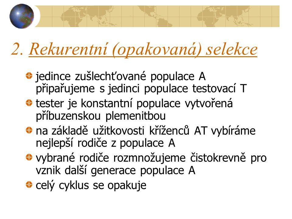 2. Rekurentní (opakovaná) selekce jedince zušlechťované populace A připařujeme s jedinci populace testovací T tester je konstantní populace vytvořená