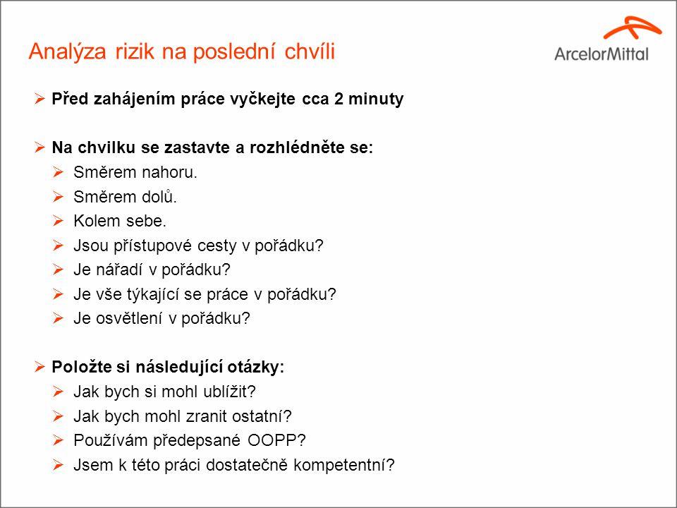 (2)(2) Analýza rizik na poslední chvíli  Před zahájením práce vyčkejte cca 2 minuty  Na chvilku se zastavte a rozhlédněte se:  Směrem nahoru.  Smě