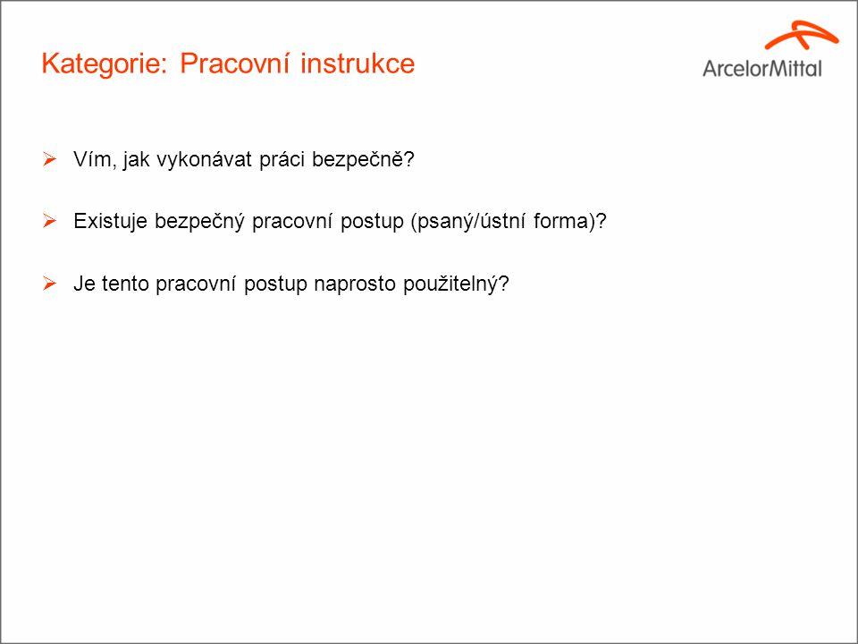 Kategorie: Pracovní instrukce  Vím, jak vykonávat práci bezpečně?  Existuje bezpečný pracovní postup (psaný/ústní forma)?  Je tento pracovní postup
