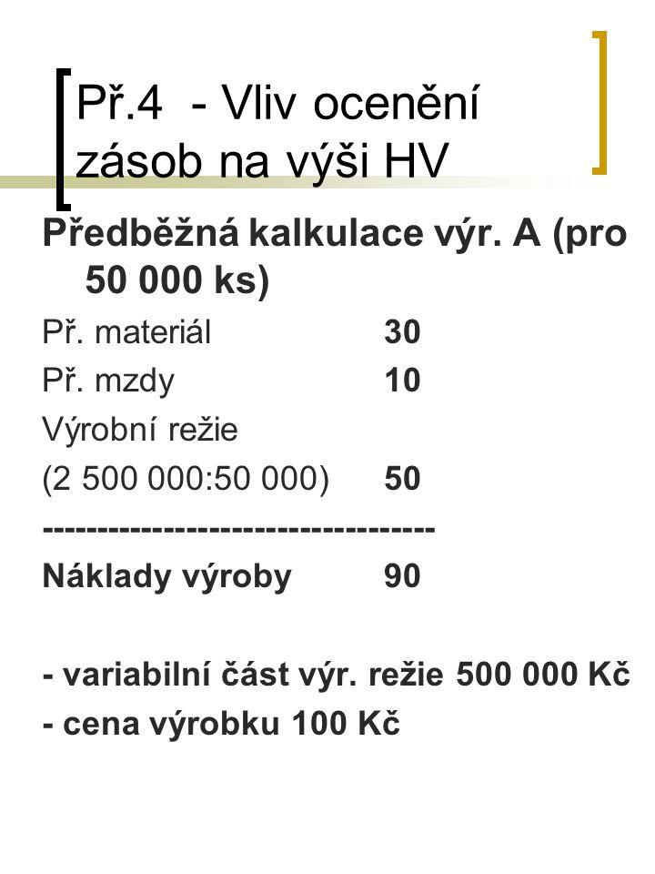 Př.4 - Vliv ocenění zásob na výši HV Předběžná kalkulace výr. A (pro 50 000 ks) Př. materiál30 Př. mzdy10 Výrobní režie (2 500 000:50 000)50 ---------