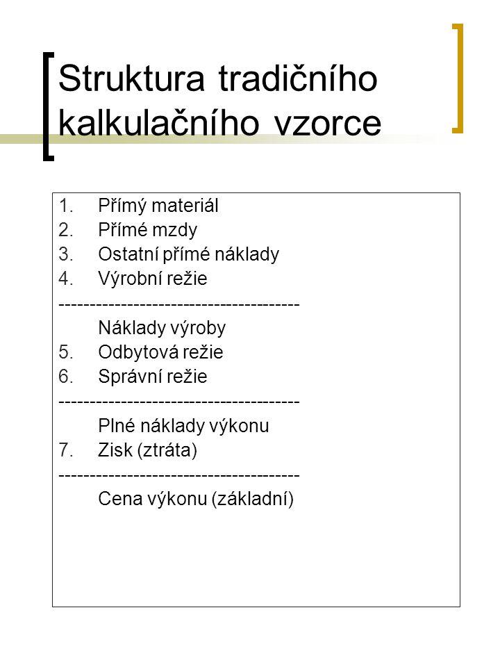 Struktura tradičního kalkulačního vzorce 1.Přímý materiál 2.Přímé mzdy 3.Ostatní přímé náklady 4.Výrobní režie ---------------------------------------