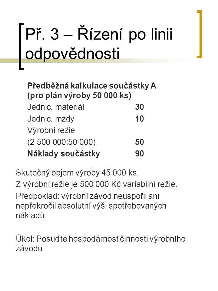 Př. 3 – Řízení po linii odpovědnosti Skutečný objem výroby 45 000 ks. Z výrobní režie je 500 000 Kč variabilní režie. Předpoklad: výrobní závod neuspo