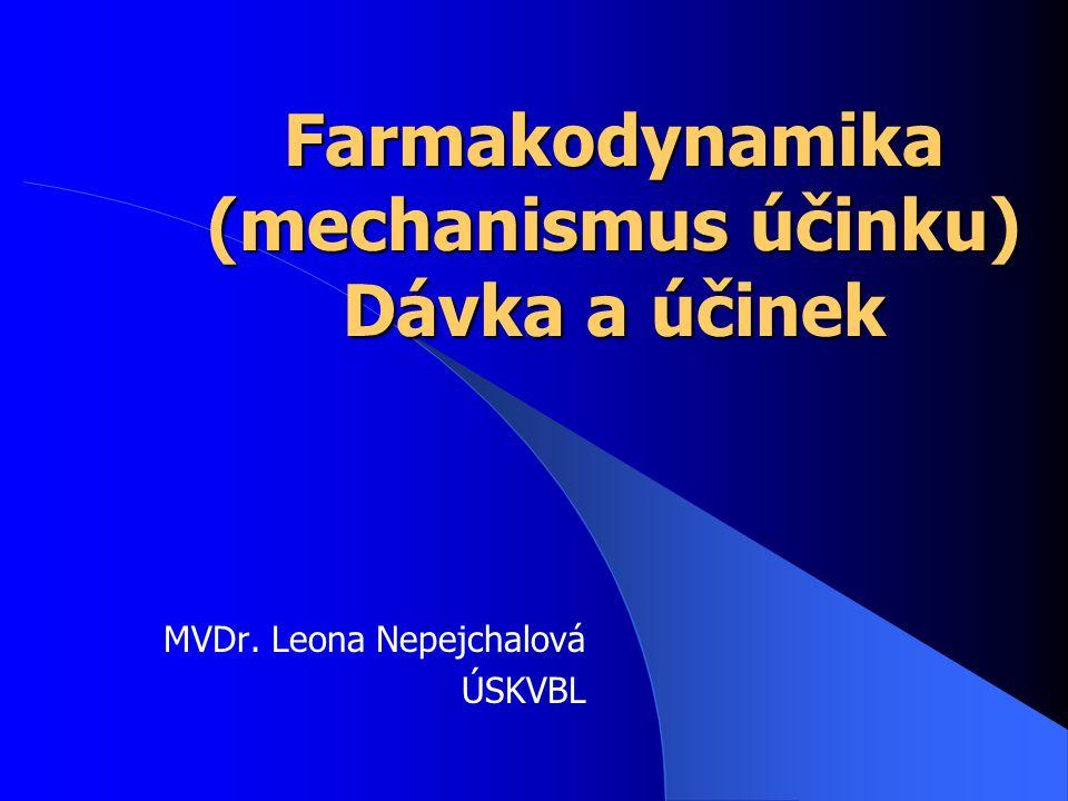 Farmakodynamika (mechanismus účinku) Dávka a účinek MVDr. Leona Nepejchalová ÚSKVBL