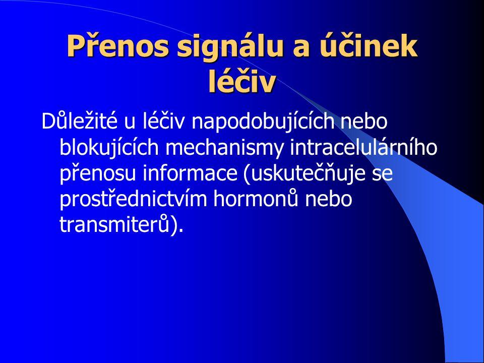 Přenos signálu a účinek léčiv Důležité u léčiv napodobujících nebo blokujících mechanismy intracelulárního přenosu informace (uskutečňuje se prostředn