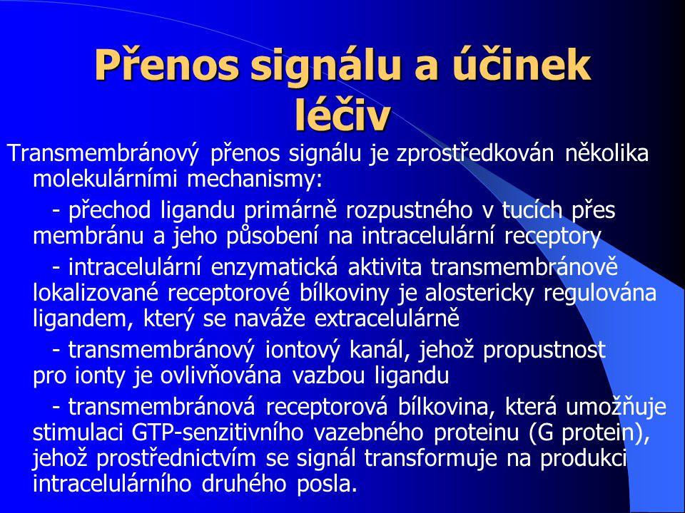 Přenos signálu a účinek léčiv Transmembránový přenos signálu je zprostředkován několika molekulárními mechanismy: - přechod ligandu primárně rozpustné