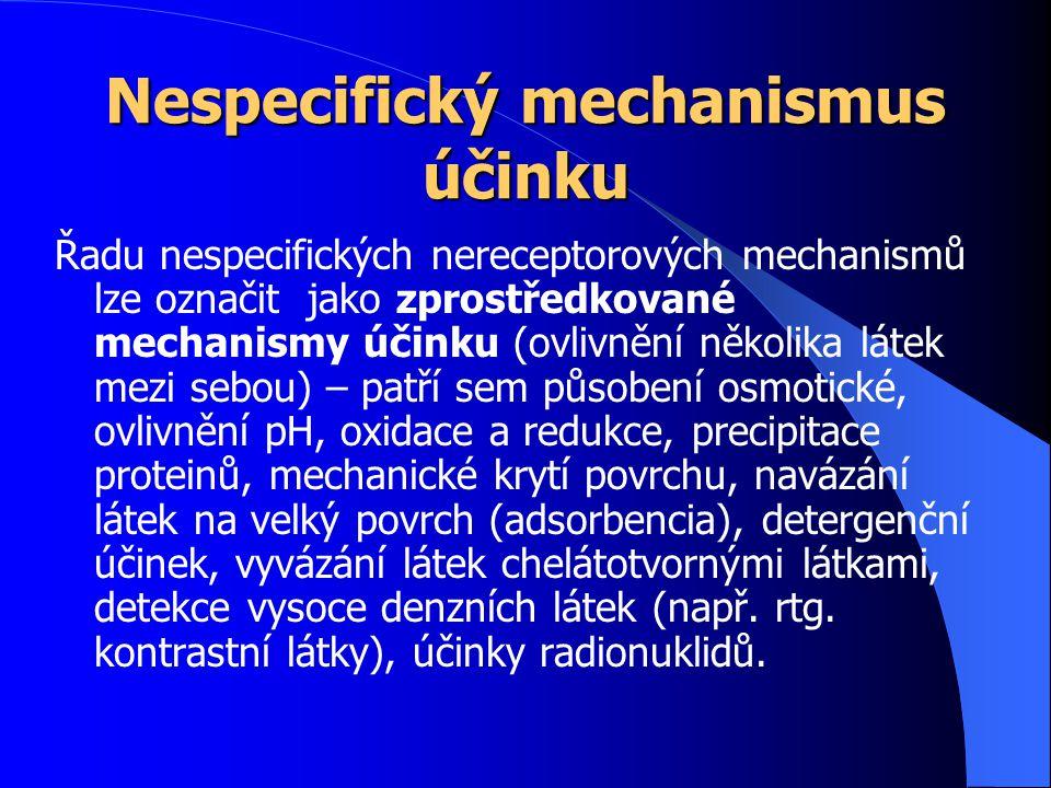 Nespecifický mechanismus účinku Řadu nespecifických nereceptorových mechanismů lze označit jako zprostředkované mechanismy účinku (ovlivnění několika