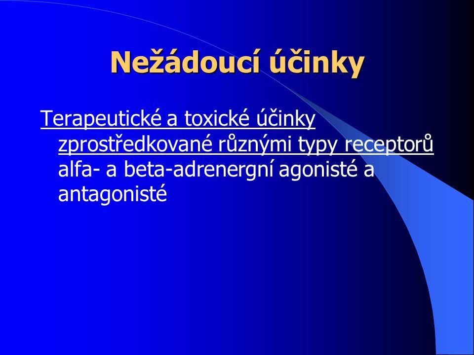 Nežádoucí účinky Terapeutické a toxické účinky zprostředkované různými typy receptorů alfa- a beta-adrenergní agonisté a antagonisté