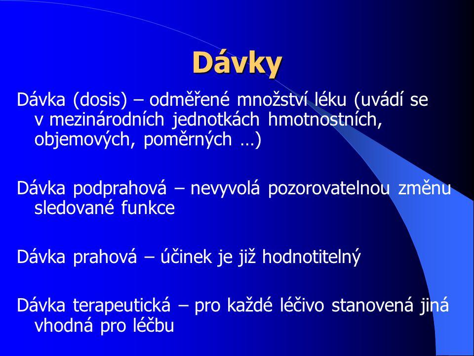 Dávky Dávka (dosis) – odměřené množství léku (uvádí se v mezinárodních jednotkách hmotnostních, objemových, poměrných …) Dávka podprahová – nevyvolá p