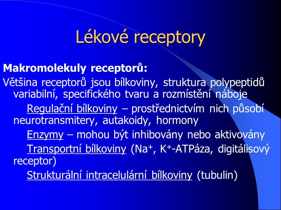 Lékové receptory Receptorová heterogenita – přítomnost více receptorových podtypů jednoho receptoru v organismu, často i v jedné tkáni – relativně malým množstvím regulačních látek může organismus ovlivnit velmi mnoho fyziologických pochodů – příprava selektivně působících látek