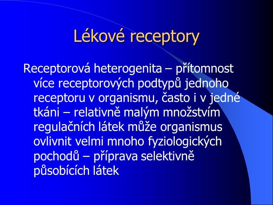 Lékové receptory Receptorová heterogenita – přítomnost více receptorových podtypů jednoho receptoru v organismu, často i v jedné tkáni – relativně mal