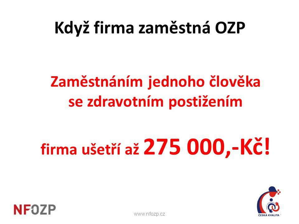 Když firma zaměstná OZP Zaměstnáním jednoho člověka se zdravotním postižením firma ušetří až 275 000,-Kč! l 13www.nfozp.cz