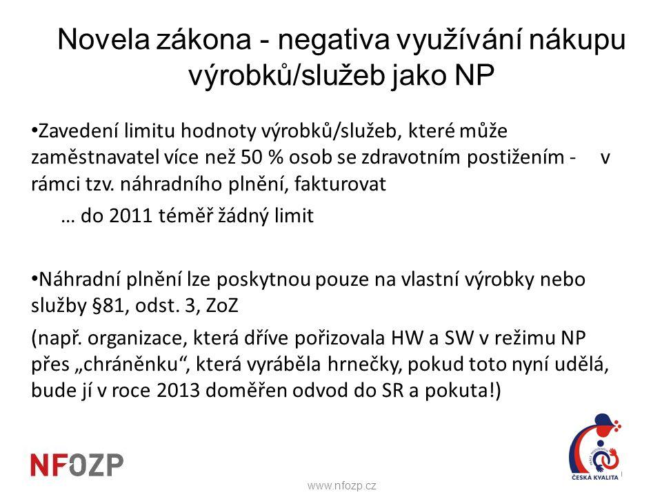Novela zákona - negativa využívání nákupu výrobků/služeb jako NP • Zavedení limitu hodnoty výrobků/služeb, které může zaměstnavatel více než 50 % osob