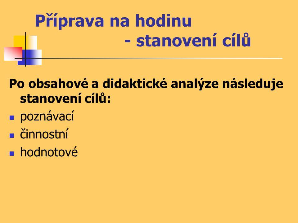 Příprava na hodinu - stanovení cílů Po obsahové a didaktické analýze následuje stanovení cílů:  poznávací  činnostní  hodnotové
