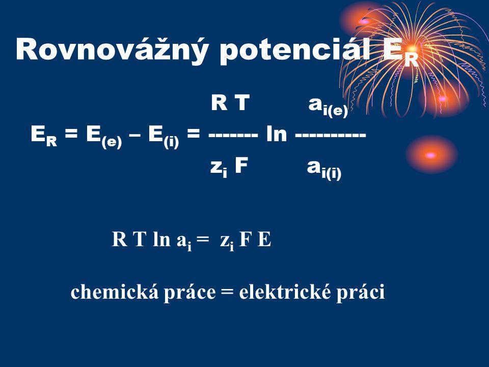 Rovnovážný potenciál E R R T a i(e) E R = E (e) – E (i) = ------- ln ---------- z i F a i(i) R T ln a i = z i F E chemická práce = elektrické práci