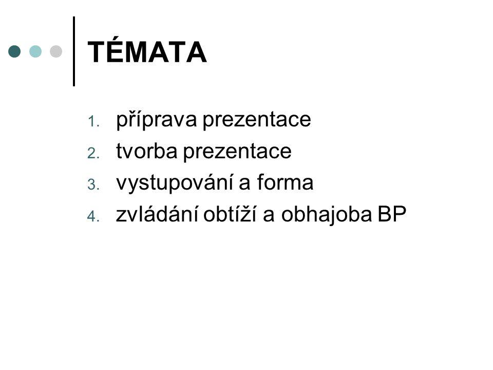 TÉMATA 1.příprava prezentace 2. tvorba prezentace 3.