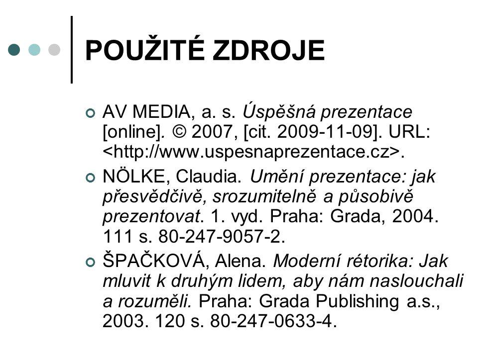 POUŽITÉ ZDROJE AV MEDIA, a.s. Úspěšná prezentace [online].