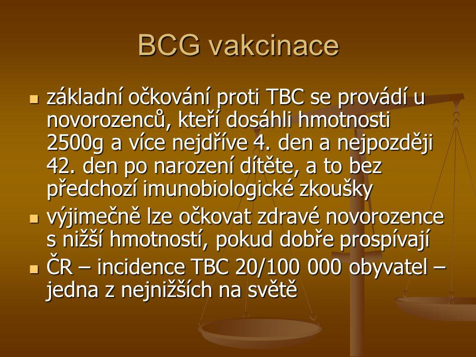 BCG vakcinace  základní očkování proti TBC se provádí u novorozenců, kteří dosáhli hmotnosti 2500g a více nejdříve 4. den a nejpozději 42. den po nar