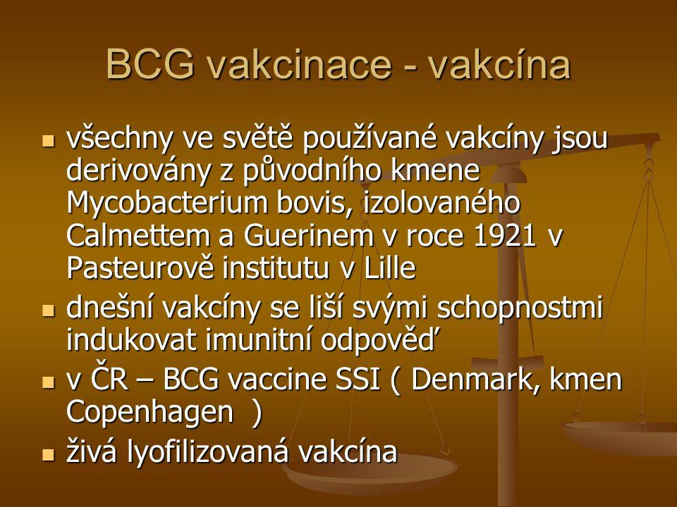 BCG vakcinace - vakcína  všechny ve světě používané vakcíny jsou derivovány z původního kmene Mycobacterium bovis, izolovaného Calmettem a Guerinem v