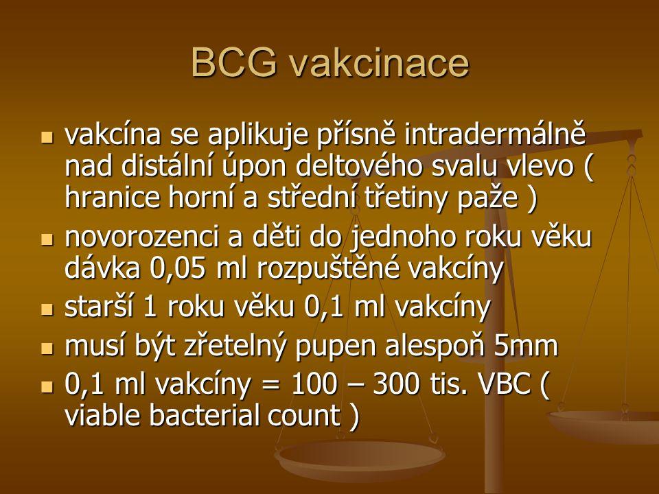 BCG vakcinace  vakcína se aplikuje přísně intradermálně nad distální úpon deltového svalu vlevo ( hranice horní a střední třetiny paže )  novorozenc