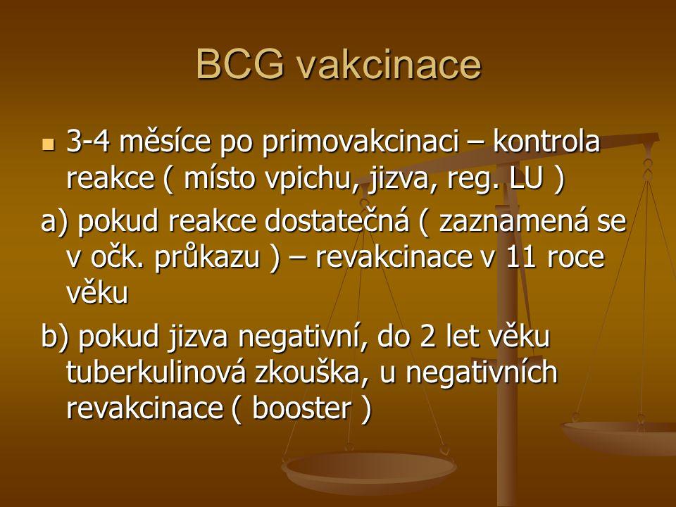 BCG vakcinace  3-4 měsíce po primovakcinaci – kontrola reakce ( místo vpichu, jizva, reg. LU ) a) pokud reakce dostatečná ( zaznamená se v očk. průka