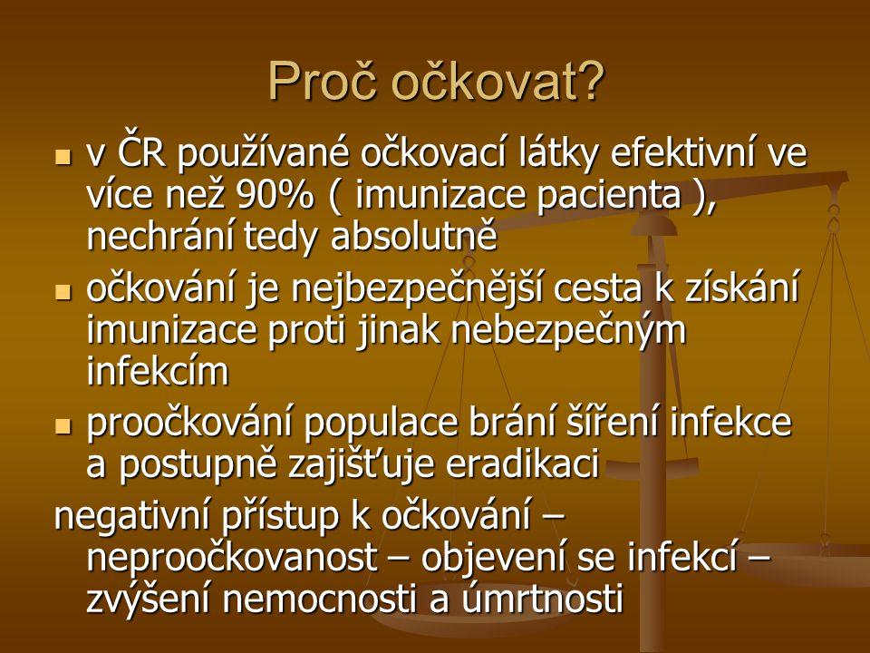 Proč očkovat?  v ČR používané očkovací látky efektivní ve více než 90% ( imunizace pacienta ), nechrání tedy absolutně  očkování je nejbezpečnější c