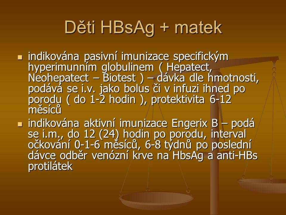 Děti HBsAg + matek  indikována pasivní imunizace specifickým hyperimunním globulinem ( Hepatect, Neohepatect – Biotest ) – dávka dle hmotnosti, podáv