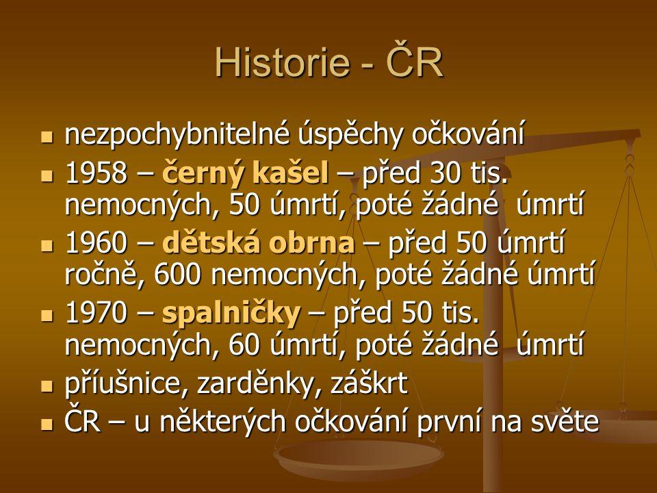 Historie - ČR  nezpochybnitelné úspěchy očkování  1958 – černý kašel – před 30 tis. nemocných, 50 úmrtí, poté žádné úmrtí  1960 – dětská obrna – př