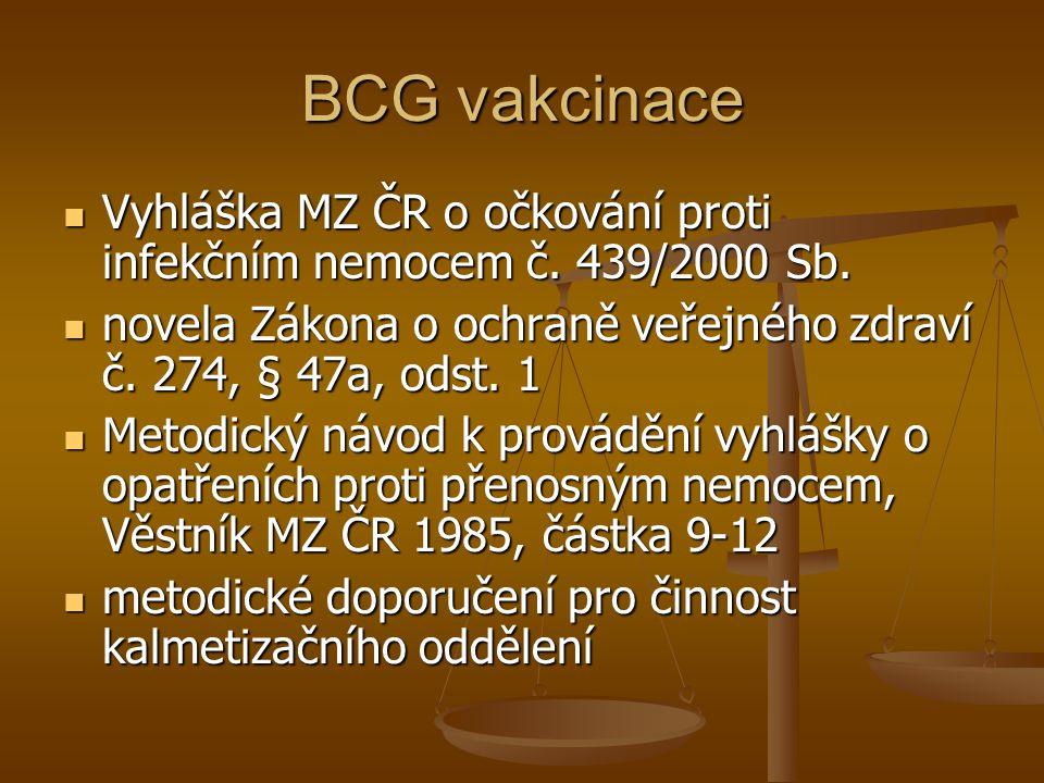 BCG vakcinace  Vyhláška MZ ČR o očkování proti infekčním nemocem č. 439/2000 Sb.  novela Zákona o ochraně veřejného zdraví č. 274, § 47a, odst. 1 