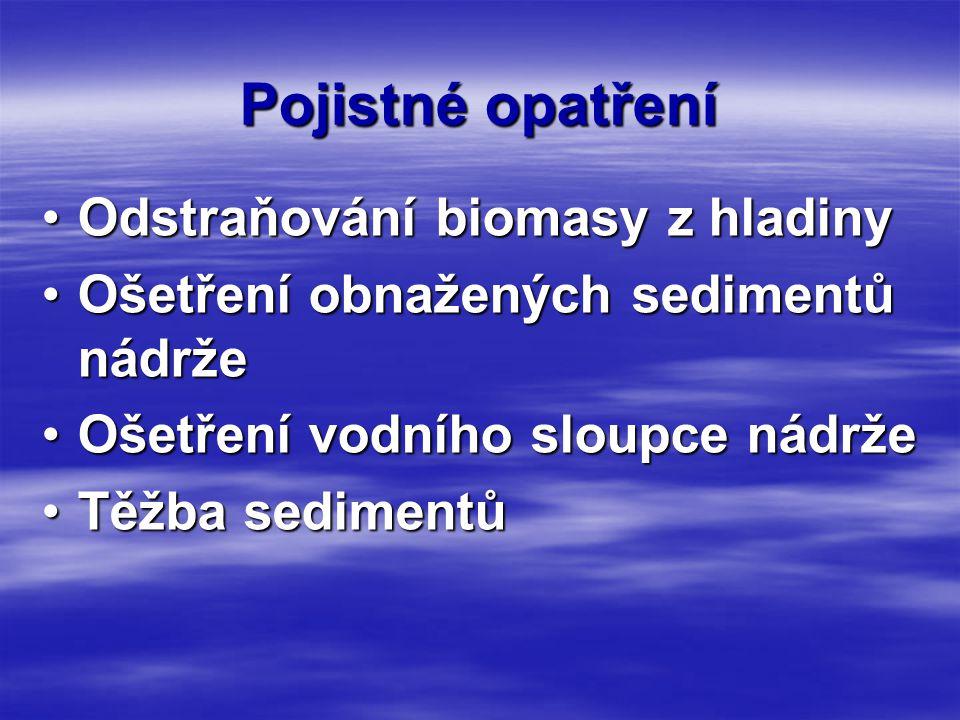 Pojistné opatření •Odstraňování biomasy z hladiny •Ošetření obnažených sedimentů nádrže •Ošetření vodního sloupce nádrže •Těžba sedimentů