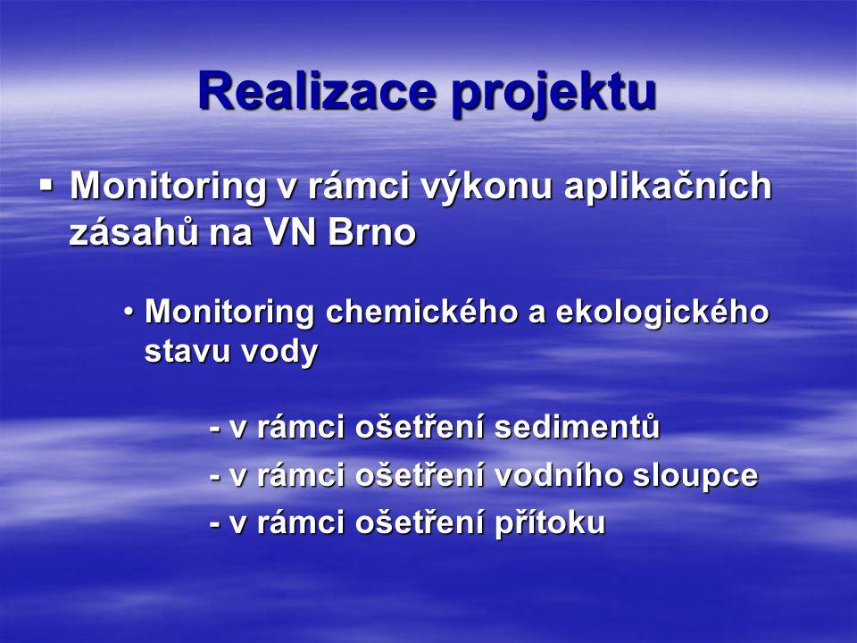 Realizace projektu  Monitoring v rámci výkonu aplikačních zásahů na VN Brno •Monitoring chemického a ekologického stavu vody - v rámci ošetření sedimentů - v rámci ošetření vodního sloupce - v rámci ošetření přítoku