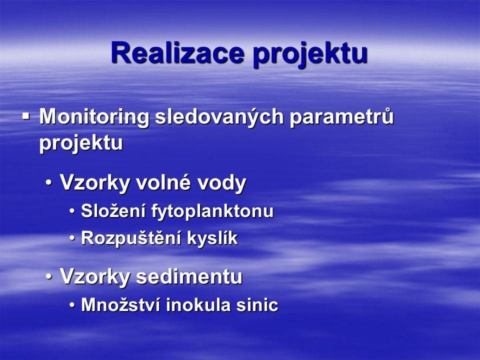 Realizace projektu  Monitoring sledovaných parametrů projektu •Vzorky volné vody •Složení fytoplanktonu •Rozpuštění kyslík •Vzorky sedimentu •Množství inokula sinic