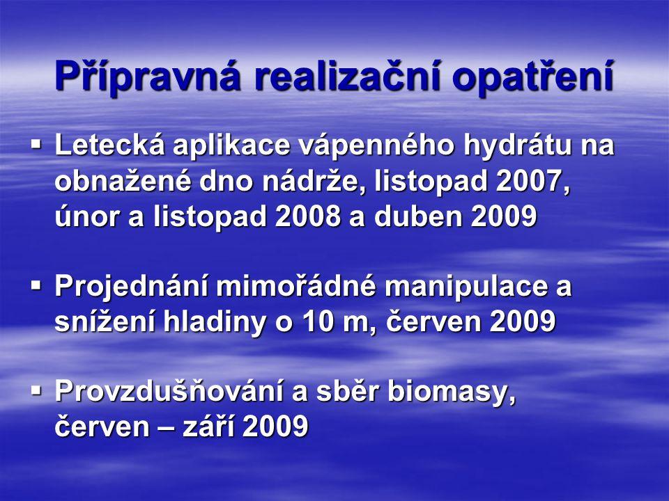 Přípravná realizační opatření  Letecká aplikace vápenného hydrátu na obnažené dno nádrže, listopad 2007, únor a listopad 2008 a duben 2009  Projednání mimořádné manipulace a snížení hladiny o 10 m, červen 2009  Provzdušňování a sběr biomasy, červen – září 2009