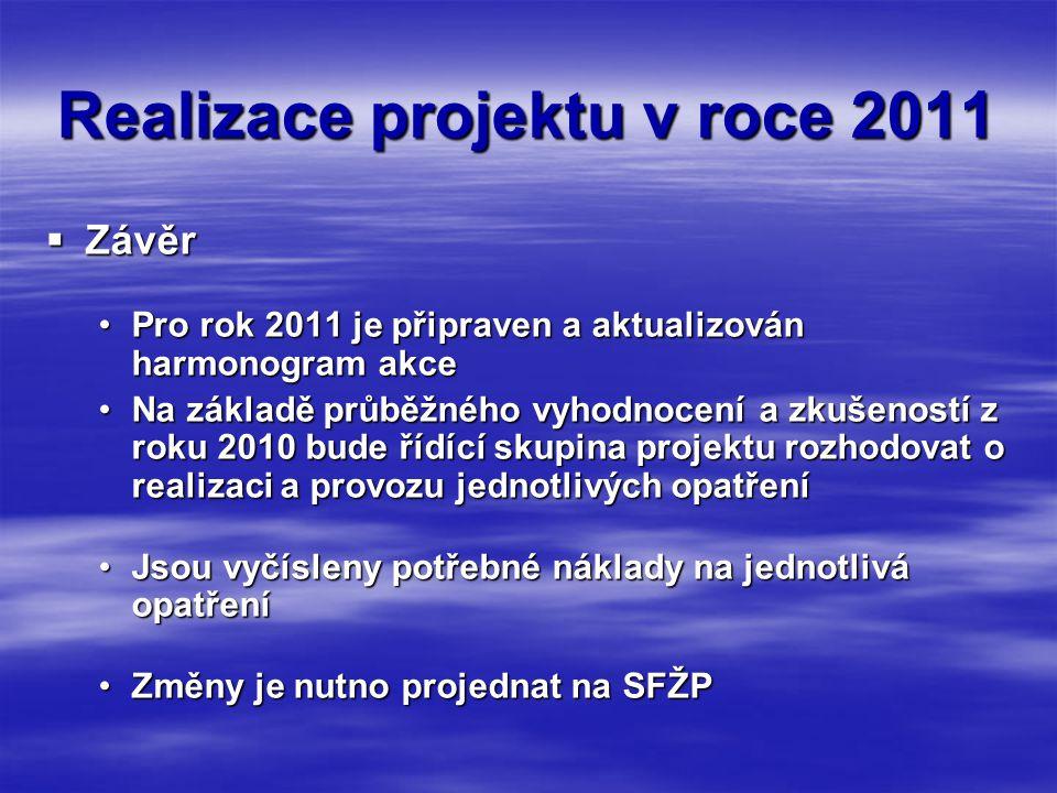 Realizace projektu v roce 2011  Závěr •Pro rok 2011 je připraven a aktualizován harmonogram akce •Na základě průběžného vyhodnocení a zkušeností z roku 2010 bude řídící skupina projektu rozhodovat o realizaci a provozu jednotlivých opatření •Jsou vyčísleny potřebné náklady na jednotlivá opatření •Změny je nutno projednat na SFŽP