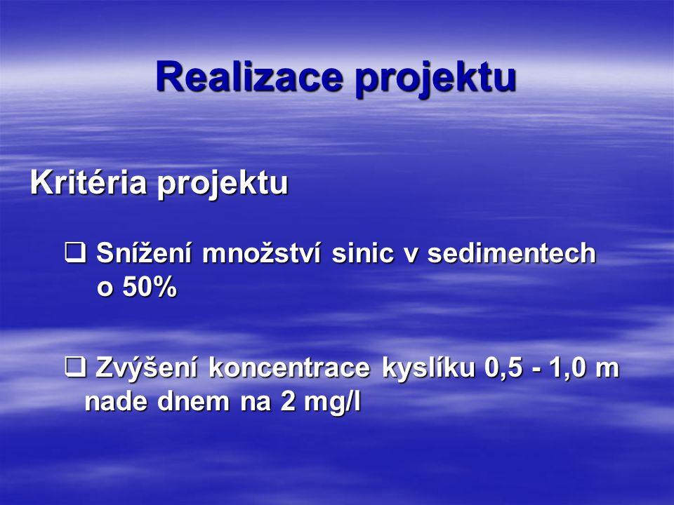 Realizace projektu Kritéria projektu  Snížení množství sinic v sedimentech o 50%  Zvýšení koncentrace kyslíku 0,5 - 1,0 m nade dnem na 2 mg/l