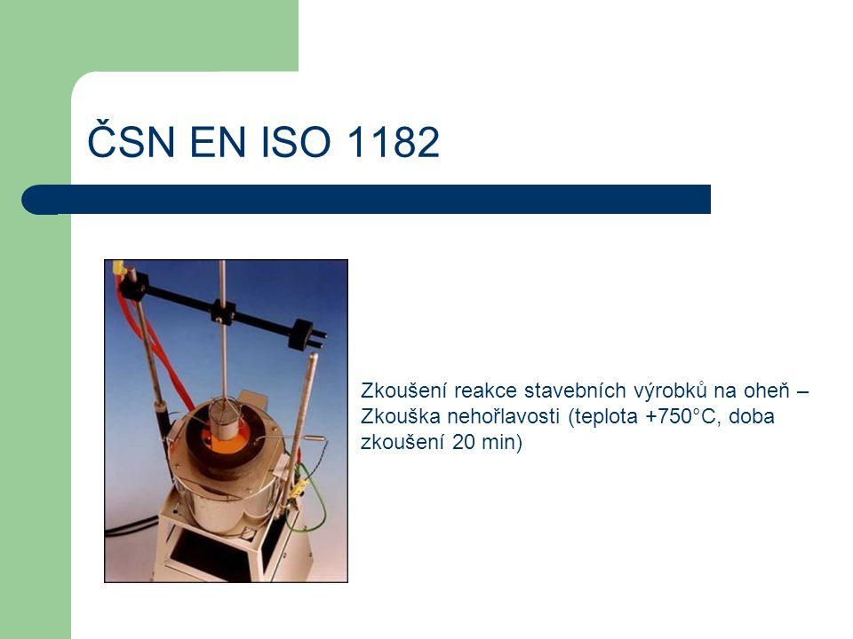 ČSN EN ISO 1182 Zkoušení reakce stavebních výrobků na oheň – Zkouška nehořlavosti (teplota +750°C, doba zkoušení 20 min)