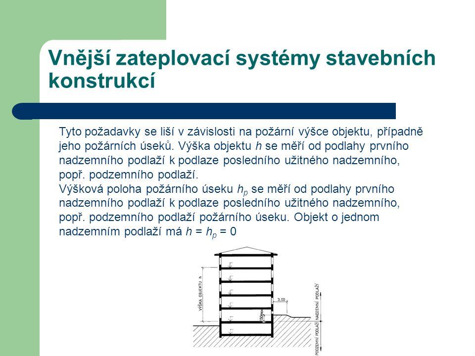 Vnější zateplovací systémy stavebních konstrukcí Tyto požadavky se liší v závislosti na požární výšce objektu, případně jeho požárních úseků. Výška ob