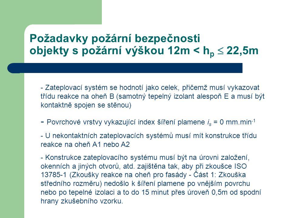 Požadavky požární bezpečnosti objekty s požární výškou 12m < h p  22,5m - Zateplovací systém se hodnotí jako celek, přičemž musí vykazovat třídu rea