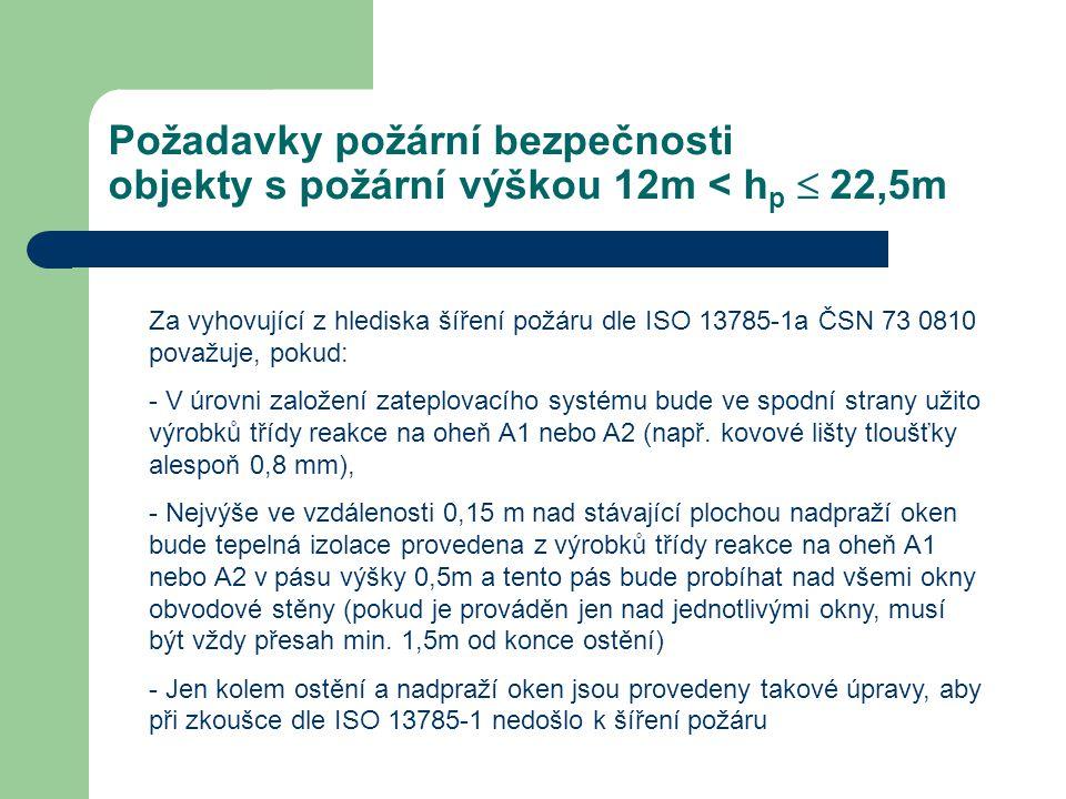 Požadavky požární bezpečnosti objekty s požární výškou 12m < h p  22,5m Za vyhovující z hlediska šíření požáru dle ISO 13785-1a ČSN 73 0810 považuje