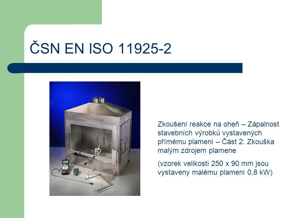 ČSN EN 13823 Zkoušení reakce na oheň – Stavební výrobky kromě podlahových krytin vystavené tepelnému účinku jednotlivého hořícího předmětu (vzorek tvaru L o rozměrech 500x 1000 mm a výšce 1500 mm je vystaven 20 min triangulárnímu plameni s intenzitou 30,7 ± 2,0 kW)