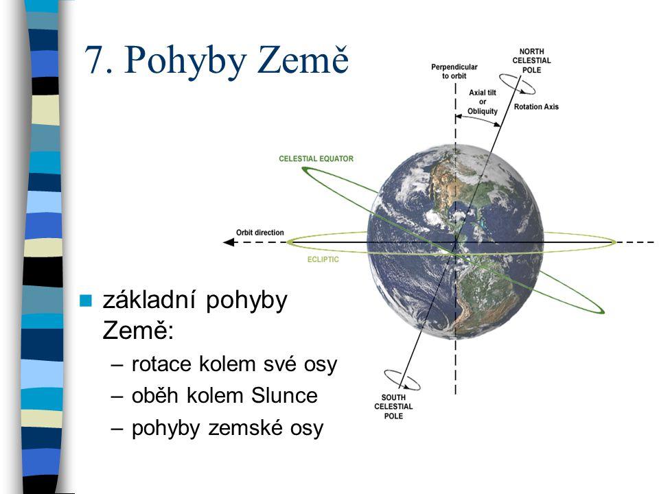  základní pohyby Země: –rotace kolem své osy –oběh kolem Slunce –pohyby zemské osy 7. Pohyby Země