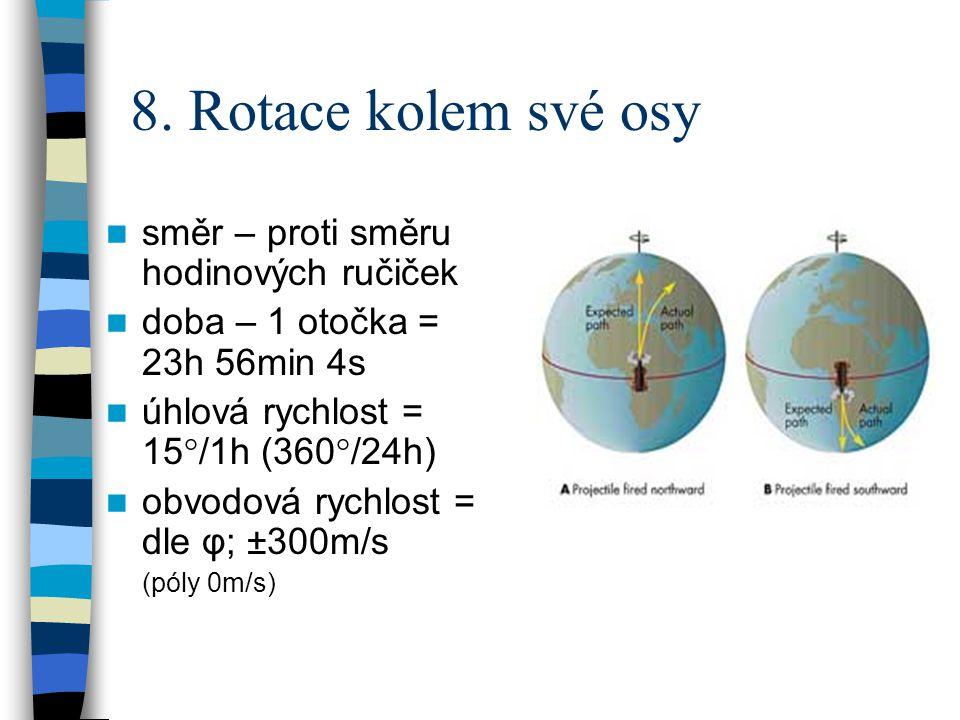 8. Rotace kolem své osy  směr – proti směru hodinových ručiček  doba – 1 otočka = 23h 56min 4s  úhlová rychlost = 15°/1h (360°/24h)  obvodová rych