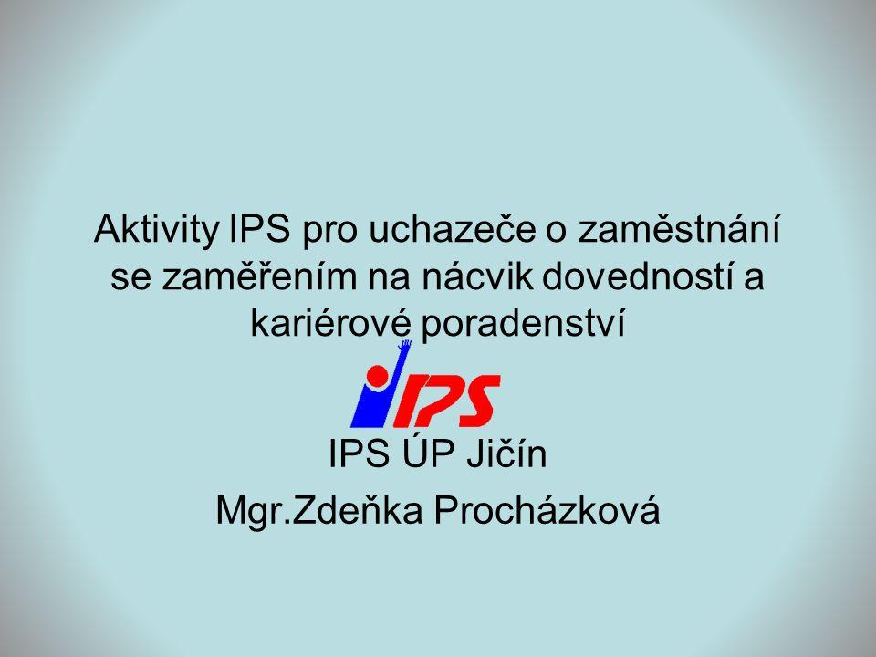 Aktivity IPS pro uchazeče o zaměstnání se zaměřením na nácvik dovedností a kariérové poradenství IPS ÚP Jičín Mgr.Zdeňka Procházková