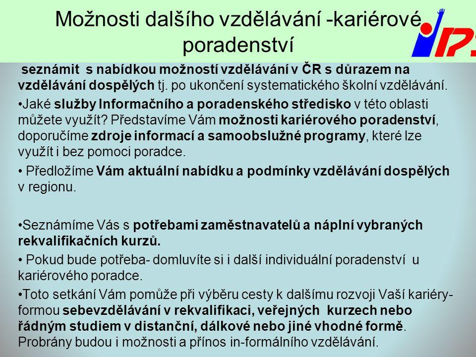 Možnosti dalšího vzdělávání -kariérové poradenství seznámit s nabídkou možností vzdělávání v ČR s důrazem na vzdělávání dospělých tj. po ukončení syst